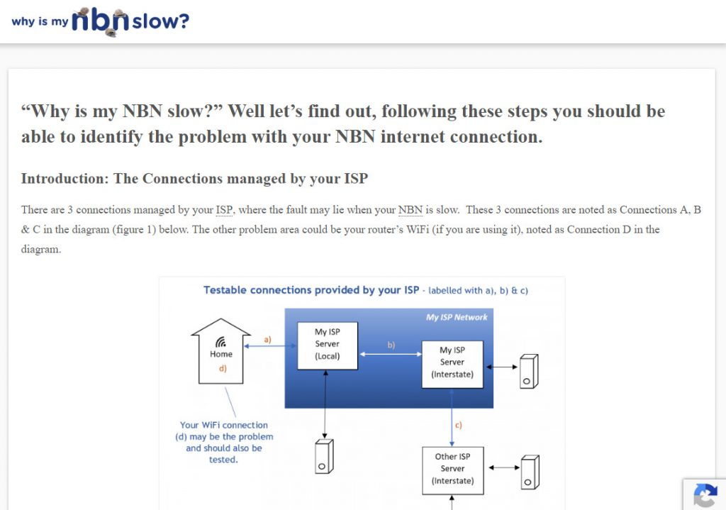 A snapshot of the Why is My  NBN Slow website (https://whyismynbnslow.com/).
